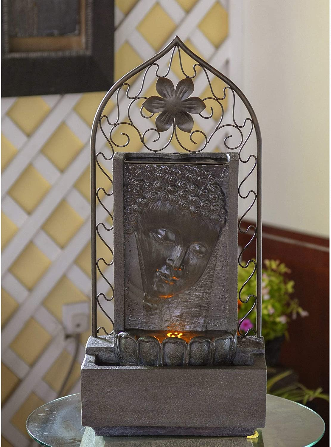 Jeco Buddha Wall and Metal Flower Fountain with Led Light