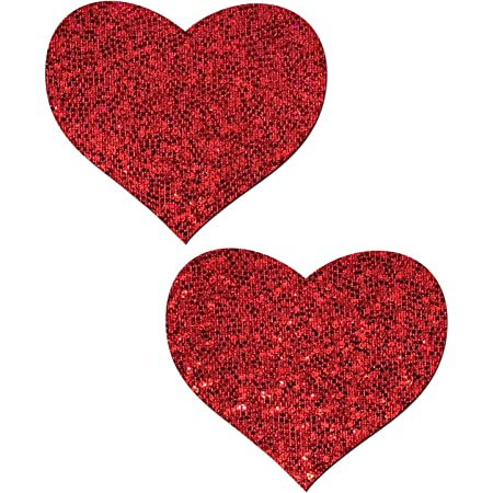Red Stretch Velvet Heart Pasties Nipple Covers Body Stickers Unisex Rave Festival Dance Stick On MTcoffinz