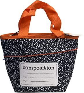Zak Designs Grid Lock - Insulated Lunch Bag with Zipper Opening, Anti-Microbial Liner, Tote-Shaped Design Brings Fashion to the Lunch Table (Composition, BPA-Free)