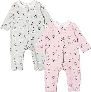 Newborn Baby Girl Romper Bodysuit Cotton Rabbit Print Jumpsuit Pink and Grey, 2 Pack
