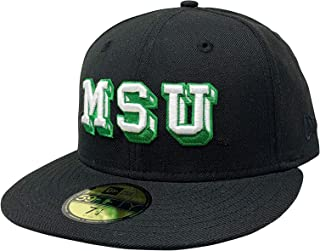 New Era Michigan State University Fitted Cap Flat Brim Hat (7 3/8, Black Micspavlt)