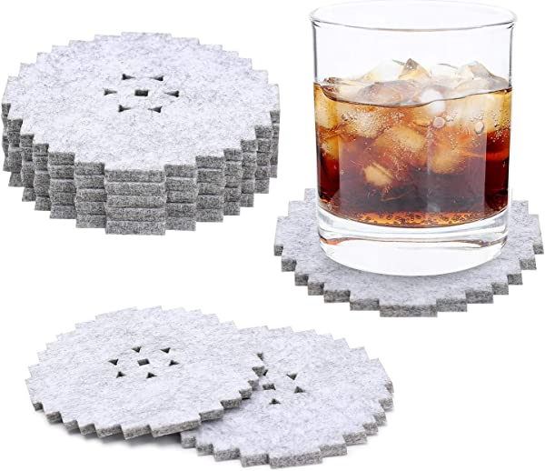 Coasters For Drinks Set Of 8 Absorbent Felt Drinks Coasters Premium Package Perfect Housewarming Gift Protects Furniture Grey Gear