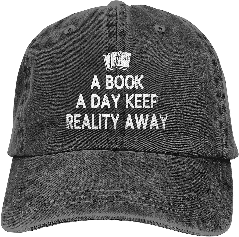 A Book A Day Keeps Reality Away Hat Vintage Unisex Baseball Cap Dad Hat Adjustable Sports Cowboy Cap Denim Cap-Black