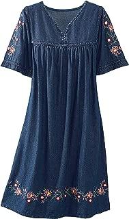 Best embroidered denim dress Reviews