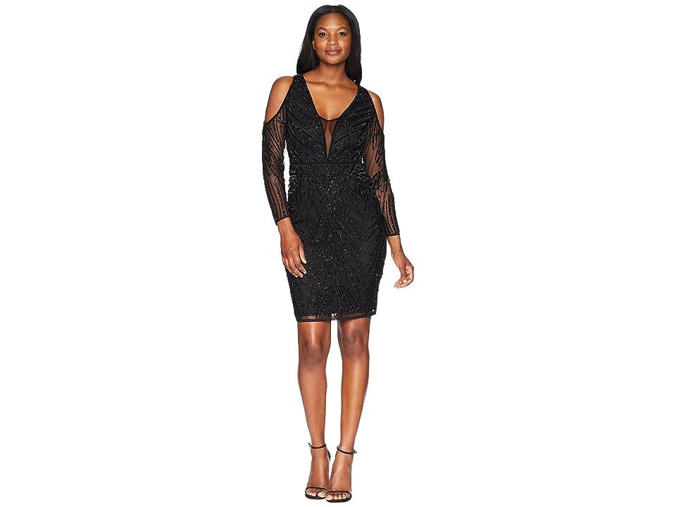 Adrianna Papell Short Beaded Dress (Black) Women