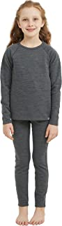 Sponsored Ad - Girl Kids Merino Wool Base Layer Set Tops and Bottom Underwear