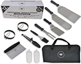 Weselyn 12 Piece Stainless Steel Griddle BBQ Accessory kit | Spatula Metal Griddle Accessories BBQ Set for Flat Top Grill Hibachi Grill Flat Grilling Outdoor Griddle Camping Griddle Teppanyaki