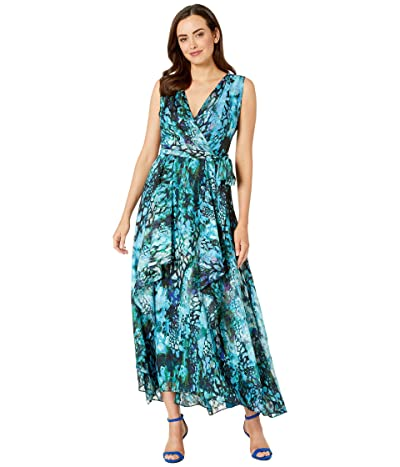 Tahari by ASL Sleeveless Chiffon Printed Burnout Layer Gown (Jade Animal Wave) Women