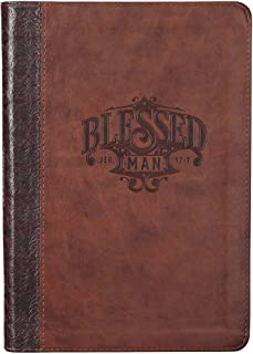 Christian Art Gifts Brown Faux Leather Journal, Blessed Man - Jeremiah 17:7 Bible Verse, Flexcover Inspirational Zippered ...