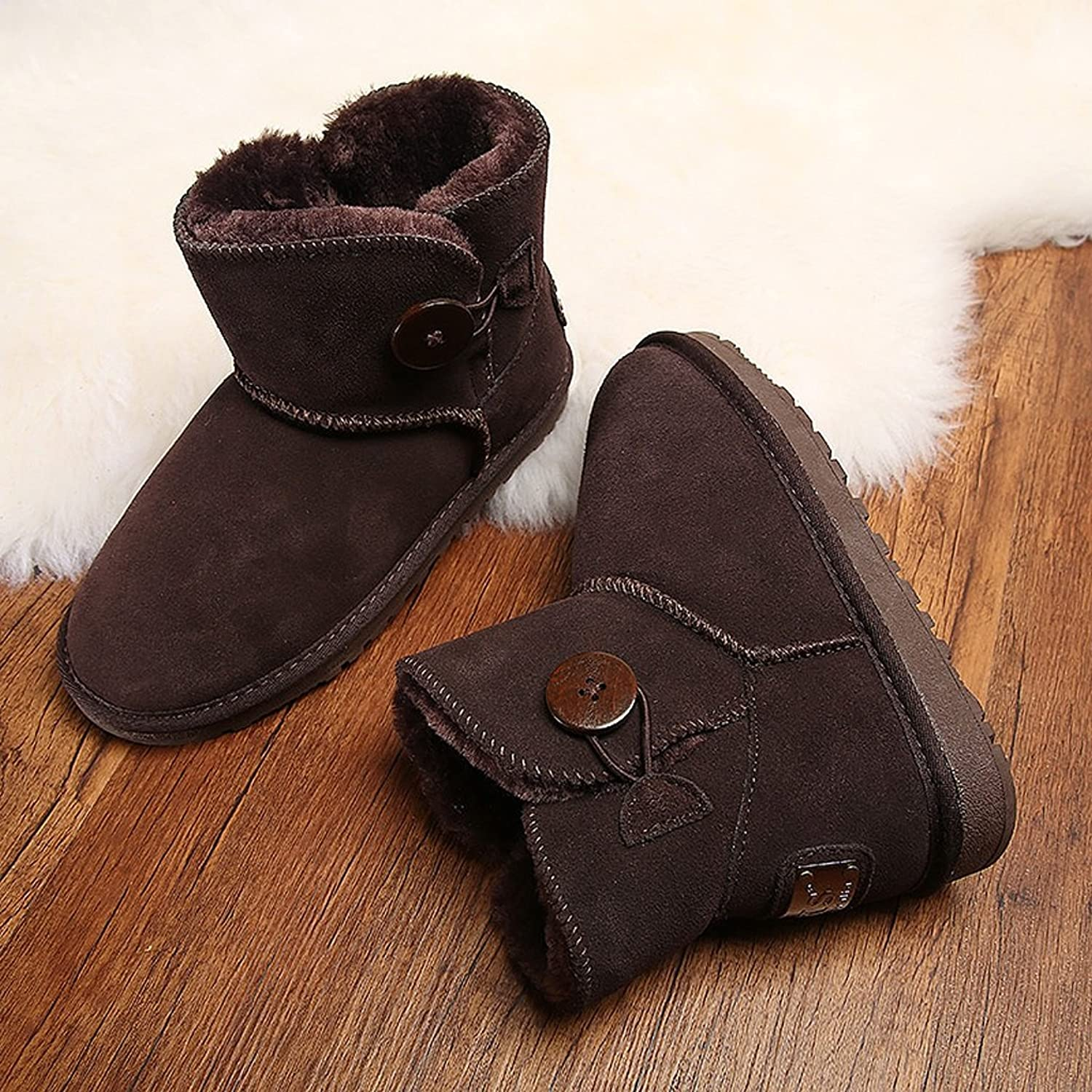 Women 's winter snow boots cowhide Button boots warm hairy fluffy cotton shoes ( color   Brown , Size   US 5\UK 4\EUR 35 )