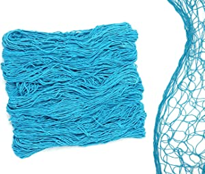 """Netting Decoration Fish Net Party Decor – Turquoise Color Cotton Netting 48"""" x 144"""" Inches. Turquoise Teal Blue Fishnet for Nautical Theme, Pirate Party, Hawaiian Party, Underwater, Beach, Ocean & Mermaid Party."""