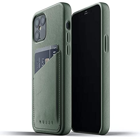 Mujjo iPhone 12 Leather Case Green - Premium Wallet Case - Compatible with iPhone 12 and 12 Pro - Compartments for 2-3 Cards - Extra Thin - Shockproof Protective Case - Wireless Charging - 6.1 Inches