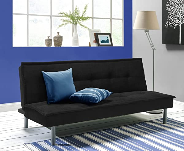 DHP Kent Convertible Microfiber Couch Bed With Sturdy Metal Legs 600 Lbs Small Black