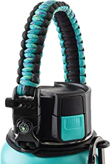 WaterFit Best Paracord Handle - Paracord Carrier Survival Strap Cord with Safety Ring and Carabiner for Hydro Flask Wide Mouth Water Bottles 12oz - 64 oz