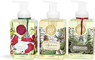 SPECIAL HOLIDAY EDITION: Michel Design Works 3-PACK Holiday Foaming Soaps - Spruce, O Tannenbaum, Poinsettia
