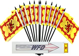 """Pack of 12 4""""x6"""" Scotland Lion Polyester Miniature Office Desk & Little Table Flags, 1 Dozen 4""""x 6"""" Scottish Lion Small Mini Hand Waving Stick Flags (Flags Only)"""
