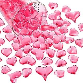 Bememo Acrylic Heart 1.1 LB Plastic Gems Table Scatter Decoration Multi-Styles Decorations Vase Filler (Pink, 168)