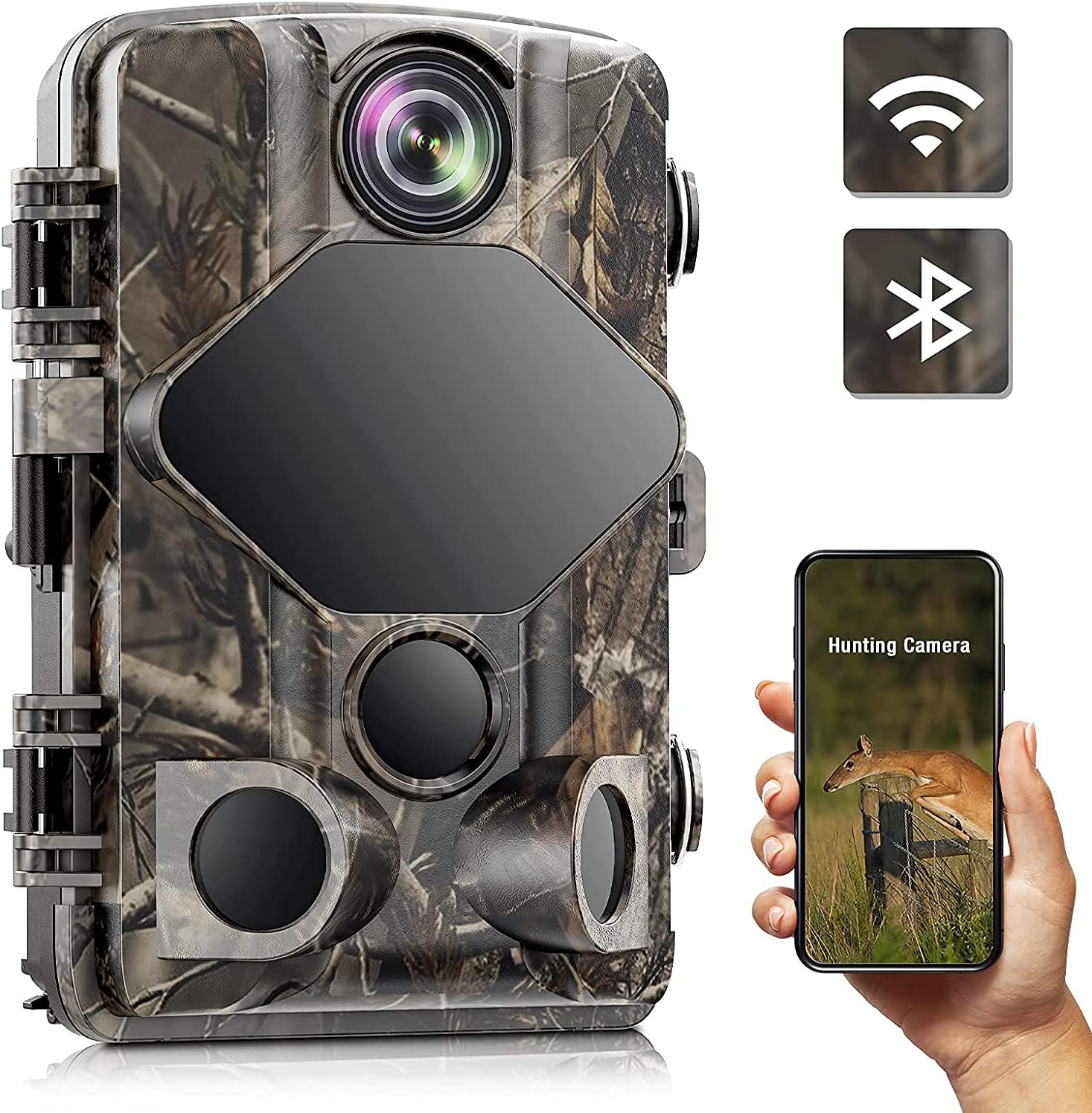 4K Trail Camera 24MP 2160P WiFi Bluetooth Hunting Camera, Night Vision Motion Activated Waterproof, No Glow IR LEDs, 0.2s Trigger Time, Game Innovation for Wildlife Hunting, Farm