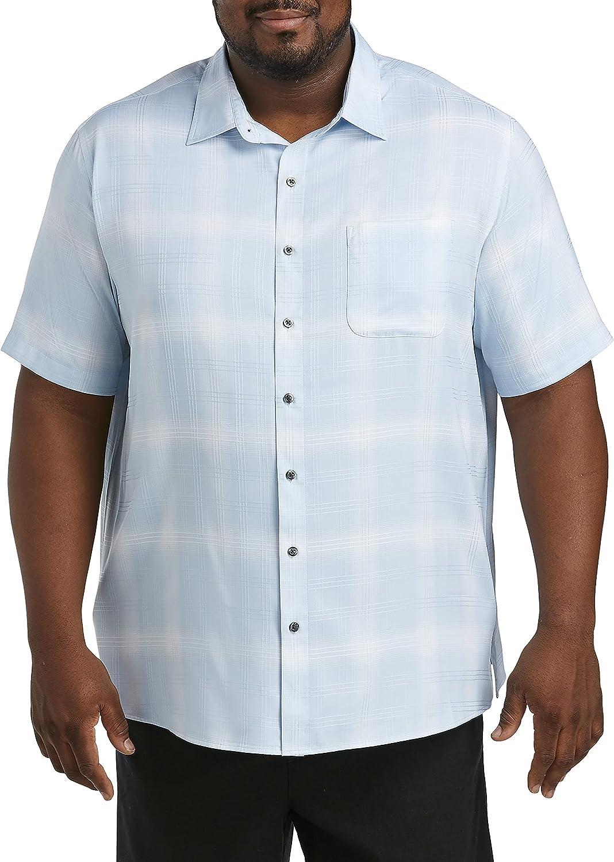 DXL Synrgy Big and Tall Large Plaid Microfiber Sport Shirt, Blue, 1XL