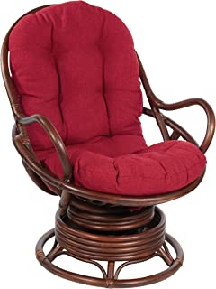 Office Star Kauai Rattan Swivel Rocker Chair, Natural Brown Frame with Red Fabric