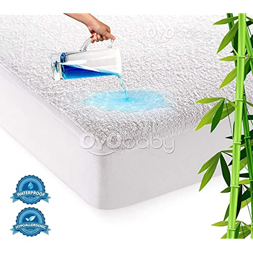"""Oyo Baby - Hypoallergenic Waterproof Mattress Protectors Cover Cotton King Size Double Bed/Fitted {White} 72""""X78""""X(Skirting 10"""")"""