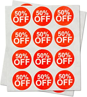 Garage Yard Sale Price Stickers Labels [50% Percent Off] for Retail Store Clearance PromotionDiscount Deals Circle Pricemarker Half Off Labels Stickers (Red and White / 1
