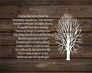 A Limb Has Fallen from Our Family Tree Wood Sign or Canvas Wall Decor Family Parent Memorial