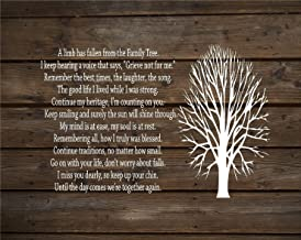 A Limb Has Fallen from Our Family Tree Wood Sign or Canvas Wall Decor Sympathy Gift Family Parent Memorial