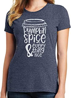 RHEYJQA Pumpkin Spice and Everything Nice Womens T-Shirt Pumpkin Spice Latte