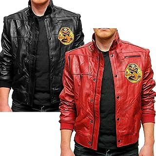 UK's Cobra Kai Karate Kid Johnny Lawrence Black Red Leather Jackets - 3XS-3XL