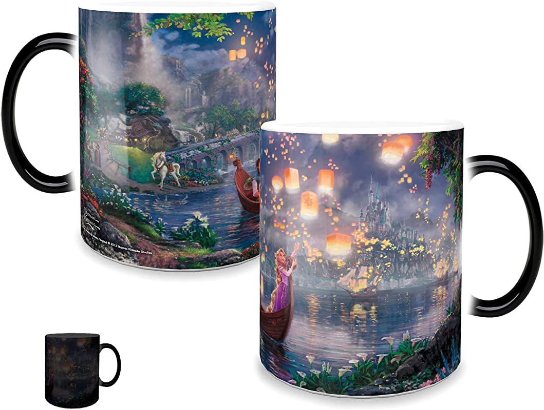 Morphing Mugs Thomas Kinkade Disney Princess Tangled Painting Heat Reveal Ceramic Coffee Mug 11 Ounces