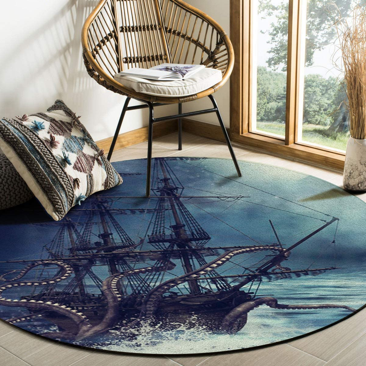 Octopus Area Rug Round Rugs 4ft Miami Mall Nautical Pirate Sh Kraken Ocean Super sale period limited