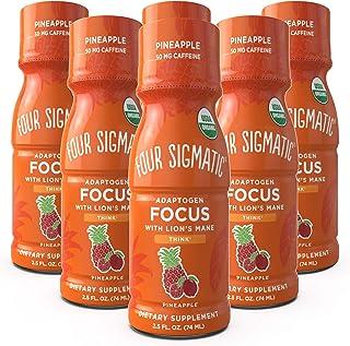 Four Sigmatic Mushroom Focus Shot, Organic Lion's Mane, Rhodiola & Pineapple Juice, Tastes Like Pineapple, Supports Focus ...