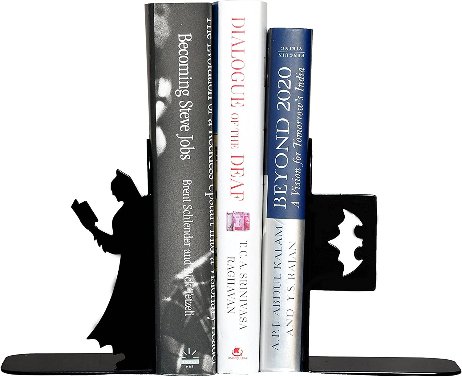 HeavenlyKraft superhero Book Reading Decorative Metal Bookend, Non Skid Book End, Book Stopper for Home Office Decor Shelves, 5.9 X 3.9 X 3.14 Inch Per Piece