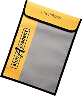 """Fireproof Document Bag 15"""" x 11"""" with Divider Safe Fire Proof and Waterproof Silicone Coated Non Itchy Safe Accessory Pouch for Documents Water Resistant Money Lock Bags as Home Safety Cash Storage"""
