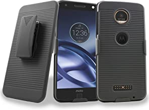 Moto Z Case, Moto Z Droid XT1650 Case, Mstechcorp Heavy Duty Holster Hybrid Armor Case Cover with Kickstand and Belt Swivel Clip For Motorola Moto Z Droid Edition