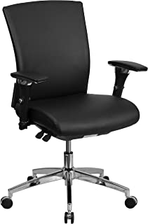 Flash Furniture HERCULES Series 24/7 Intensive Use 300 lb. Rated Black LeatherSoft Multifunction Ergonomic Office Chair with Seat Slider