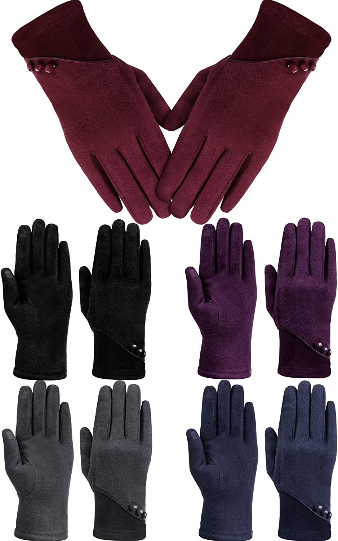 5 Pairs Women Winter Gloves Fleece Lined Touchscreen Gloves Warm Windproof Driving Gloves Adjustment Buttons for Women Girls