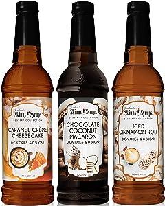 Jordan's Skinny Syrup Dessert Collection - Caramel Creme Cheesecake, Chocolate Coconut Macaron, Iced Cinnamon Roll (Original Version)