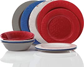 Gibson Brist Pastels 12 pc Dinnerware Set - 4 Assorted Colors - Melamine