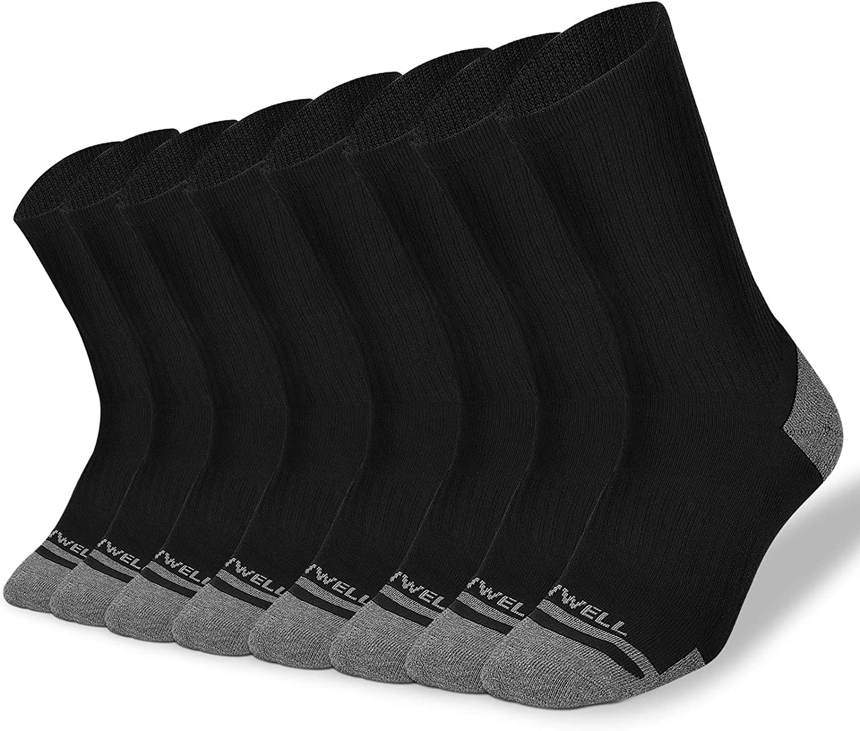VWELL Crew Socks , Casual long Cotton Socks For Men and Women 8-Pack Performance Cushion Work Athletic Running Socks