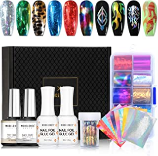 Modelones Nail Art Foil Glue Gel with Starry Sky Star Foil Stickers Set Nail Transfer Tips Manicure Art DIY 15ML, 10PCS Flame Nail Stickers, holographic,Gift Base&Top Coat,UV LED Lamp Required.