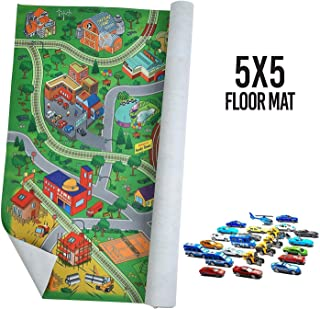 Prextex Giant Fabric Play Mat with 25 Die Cast Toy Cars Included (Play Mat Size 5x4 Feet)