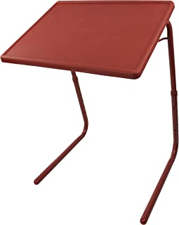 Portable & Foldable Comfortable TV Tray Table - Adjustable Tray With Cup Holder (Brown)