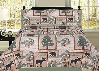 HowPlum Elk Bear Rustic Mountain Lodge Cabin Queen Quilt 7 Piece Bedding Sheet Set