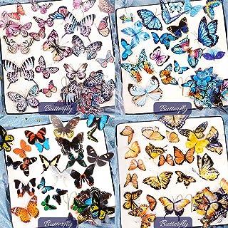 VINFUTUR 200pcs Papillons Autocollants 3D Scrapbooking Cartoon Etiquettes Adhésif pour Récompense Cadeaux, DIY Album Photo