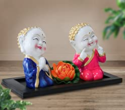 TIED RIBBONS Buddha Monk Decorative Showpiece Set of 2 with Flower and Wooden Tray | Diwali Home Decor | Diwali Items for ...
