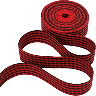URATOT Red and Black Plaid Burlap Christmas Wrapping Ribbon Wired Edge Ribbon for Christmas Crafts Decoration, Floral Bows Craft, 394 Inch (4cm)