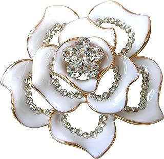 Navachi 18k Gold Plated Clear Crystal White Enamel Flower Az7433b Brooch Pin