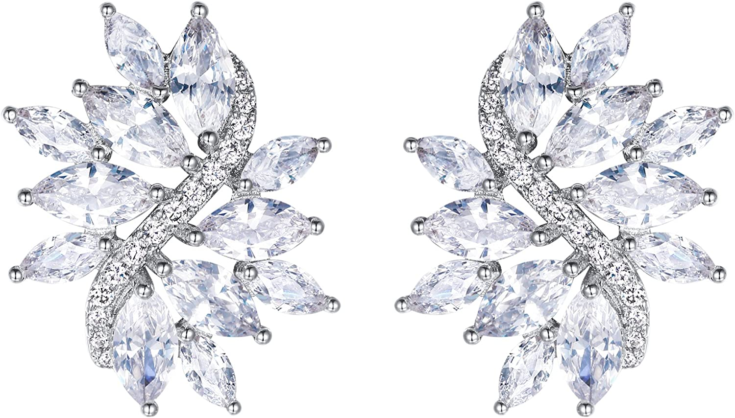 EVER FAITH Women's Cubic Zirconia Pie Floral Elegant Bridal Leaf Free shipping New mail order New